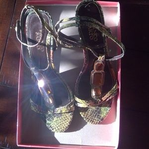 Franco Sarto Snakeskin heeled sandals jeweled 8